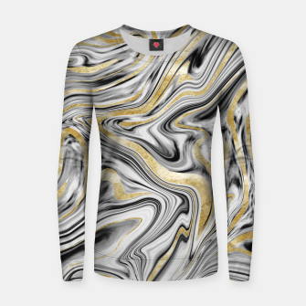 Thumbnail image of Gray Black White Gold Marble #1 #decor #art  Frauen sweatshirt, Live Heroes