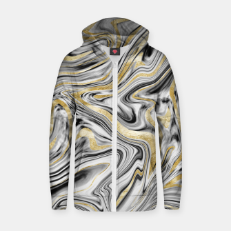 Thumbnail image of Gray Black White Gold Marble #1 #decor #art  Reißverschluss kapuzenpullover, Live Heroes