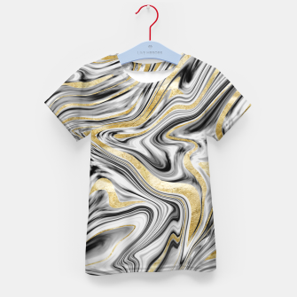 Thumbnail image of Gray Black White Gold Marble #1 #decor #art  T-Shirt für kinder, Live Heroes