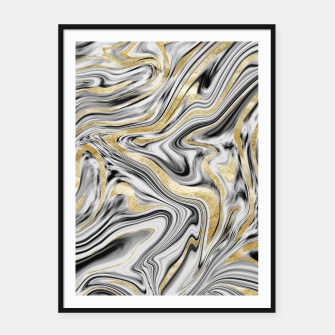 Thumbnail image of Gray Black White Gold Marble #1 #decor #art  Plakat mit rahmen, Live Heroes