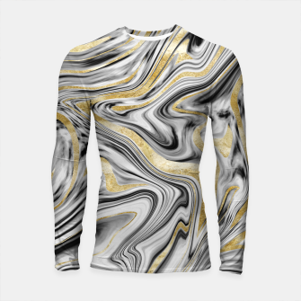 Thumbnail image of Gray Black White Gold Marble #1 #decor #art  Longsleeve rashguard, Live Heroes