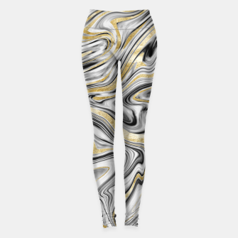 Thumbnail image of Gray Black White Gold Marble #1 #decor #art  Leggings, Live Heroes