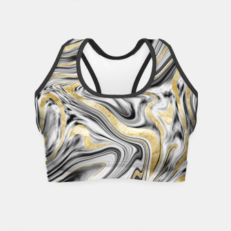 Thumbnail image of Gray Black White Gold Marble #1 #decor #art  Crop Top, Live Heroes