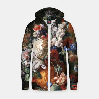 Miniaturka Bouquet Of Flowers In An Urn by Jan van Huysum Zip up hoodie, Live Heroes