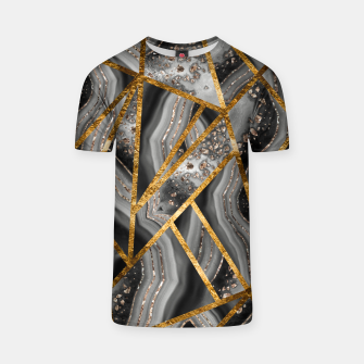 Thumbnail image of Black Night Agate Gold Geometric Glam #3 #geo #decor #art T-Shirt, Live Heroes