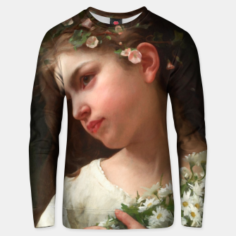 Xzendor7 Girl with a Bouquet of Daisies by Jules Cyrille Cave Unisex sweater obraz miniatury