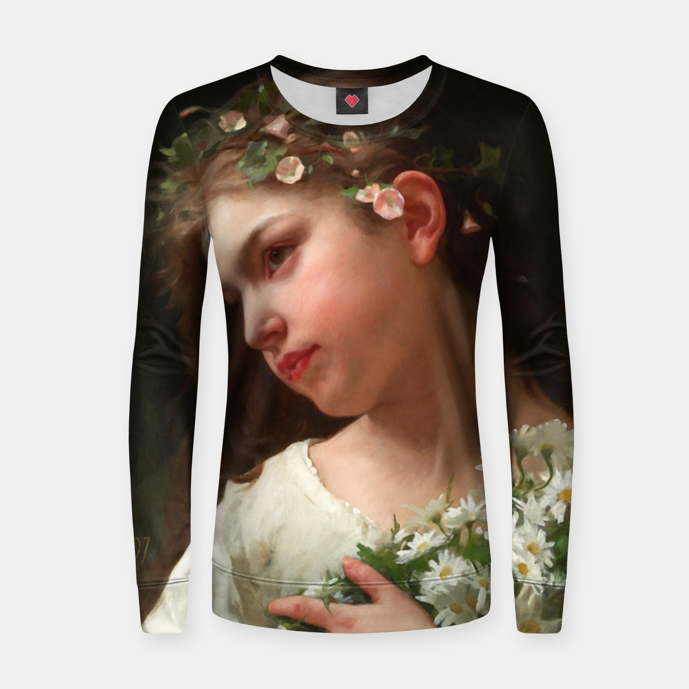Image of Xzendor7 Girl with a Bouquet of Daisies by Jules Cyrille Cave Women sweater - Live Heroes