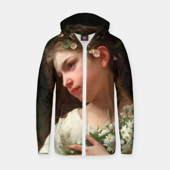 Xzendor7 Girl with a Bouquet of Daisies by Jules Cyrille Cave Zip up hoodie obraz miniatury