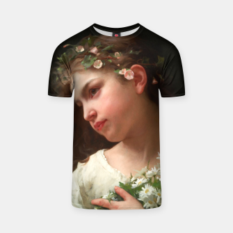 Xzendor7 Girl with a Bouquet of Daisies by Jules Cyrille Cave T-shirt obraz miniatury