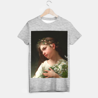 Xzendor7 Girl with a Bouquet of Daisies by Jules Cyrille Cave T-shirt regular obraz miniatury