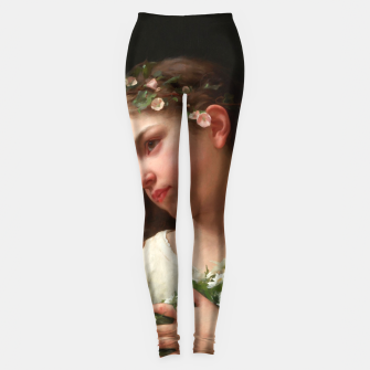 Xzendor7 Girl with a Bouquet of Daisies by Jules Cyrille Cave Leggings obraz miniatury