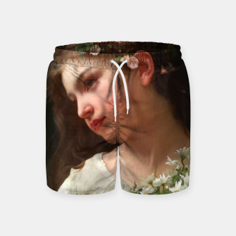 Xzendor7 Girl with a Bouquet of Daisies by Jules Cyrille Cave Swim Shorts obraz miniatury
