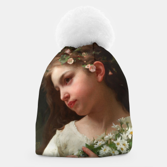Xzendor7 Girl with a Bouquet of Daisies by Jules Cyrille Cave Beanie obraz miniatury