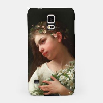 Xzendor7 Girl with a Bouquet of Daisies by Jules Cyrille Cave Samsung Case obraz miniatury