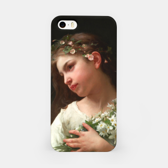 Xzendor7 Girl with a Bouquet of Daisies by Jules Cyrille Cave iPhone Case obraz miniatury