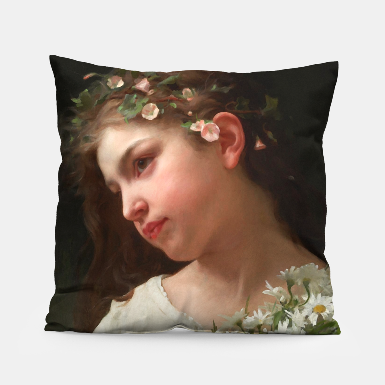 Image of Xzendor7 Girl with a Bouquet of Daisies by Jules Cyrille Cave Pillow - Live Heroes