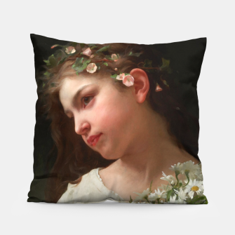 Xzendor7 Girl with a Bouquet of Daisies by Jules Cyrille Cave Pillow obraz miniatury