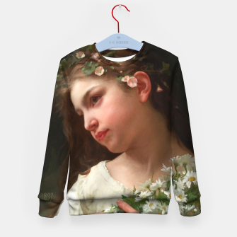 Xzendor7 Girl with a Bouquet of Daisies by Jules Cyrille Cave Kid's sweater obraz miniatury