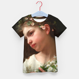 Xzendor7 Girl with a Bouquet of Daisies by Jules Cyrille Cave Kid's t-shirt obraz miniatury