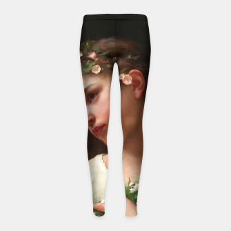 Xzendor7 Girl with a Bouquet of Daisies by Jules Cyrille Cave Girl's leggings obraz miniatury