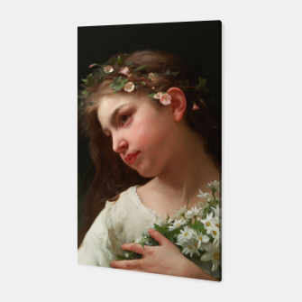 Xzendor7 Girl with a Bouquet of Daisies by Jules Cyrille Cave Canvas obraz miniatury