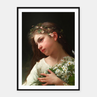 Miniaturka Xzendor7 Girl with a Bouquet of Daisies by Jules Cyrille Cave Framed poster, Live Heroes