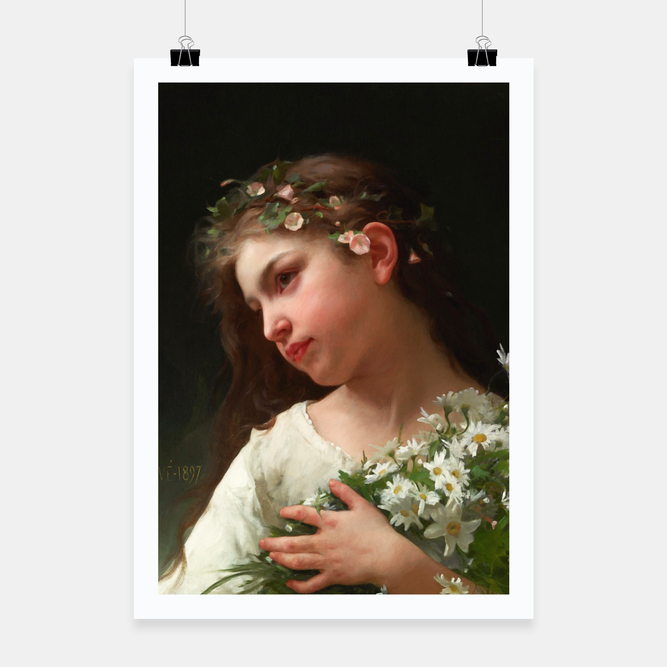 Zdjęcie Xzendor7 Girl with a Bouquet of Daisies by Jules Cyrille Cave Poster - Live Heroes