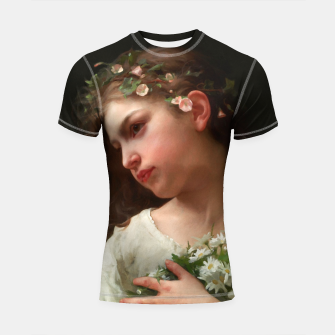 Xzendor7 Girl with a Bouquet of Daisies by Jules Cyrille Cave Shortsleeve rashguard obraz miniatury