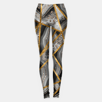 Thumbnail image of Black Night Agate Gold Geometric Glam #3 #geo #decor #art Leggings, Live Heroes
