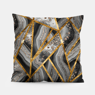 Thumbnail image of Black Night Agate Gold Geometric Glam #3 #geo #decor #art Kissen, Live Heroes