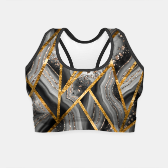 Thumbnail image of Black Night Agate Gold Geometric Glam #3 #geo #decor #art Crop Top, Live Heroes