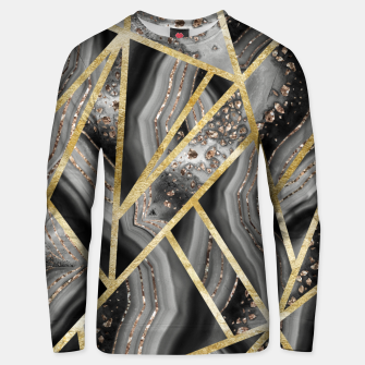 Black Night Agate Gold Geometric Glam #1 #geo #decor #art  Unisex sweatshirt obraz miniatury