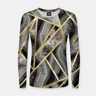 Black Night Agate Gold Geometric Glam #1 #geo #decor #art  Frauen sweatshirt obraz miniatury