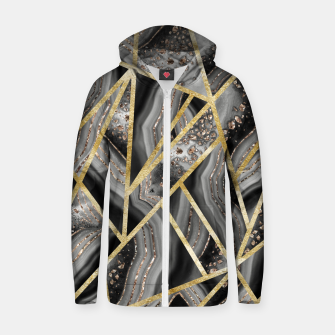 Thumbnail image of Black Night Agate Gold Geometric Glam #1 #geo #decor #art  Reißverschluss kapuzenpullover, Live Heroes