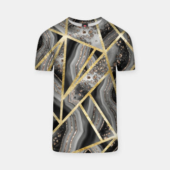 Black Night Agate Gold Geometric Glam #1 #geo #decor #art  T-Shirt obraz miniatury