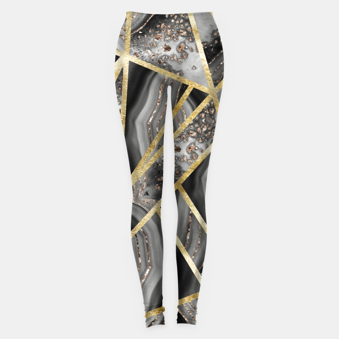 Zdjęcie Black Night Agate Gold Geometric Glam #1 #geo #decor #art  Leggings - Live Heroes