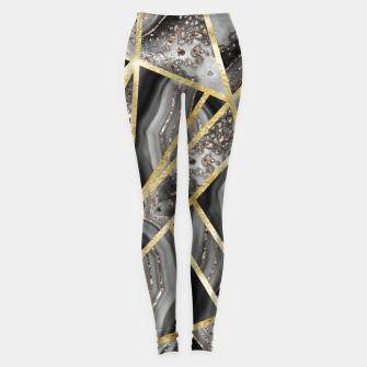 Thumbnail image of Black Night Agate Gold Geometric Glam #1 #geo #decor #art  Leggings, Live Heroes