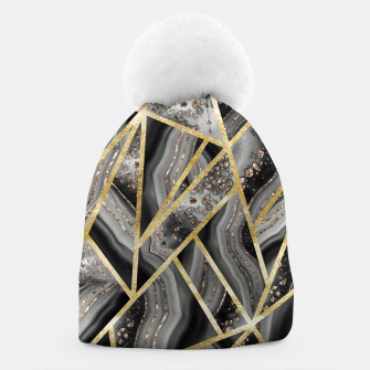 Miniaturka Black Night Agate Gold Geometric Glam #1 #geo #decor #art  Mütze, Live Heroes