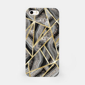 Black Night Agate Gold Geometric Glam #1 #geo #decor #art  iPhone-Hülle obraz miniatury