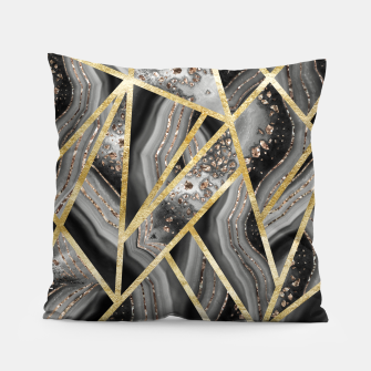 Thumbnail image of Black Night Agate Gold Geometric Glam #1 #geo #decor #art  Kissen, Live Heroes