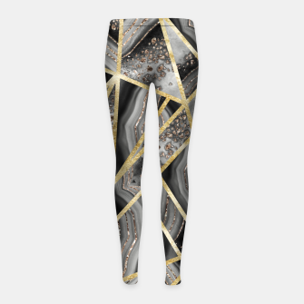 Black Night Agate Gold Geometric Glam #1 #geo #decor #art  Kinder-Leggins obraz miniatury