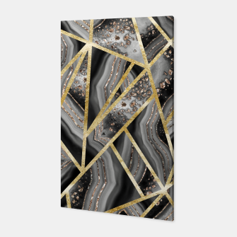 Black Night Agate Gold Geometric Glam #1 #geo #decor #art  Canvas obraz miniatury