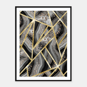 Black Night Agate Gold Geometric Glam #1 #geo #decor #art  Plakat mit rahmen obraz miniatury