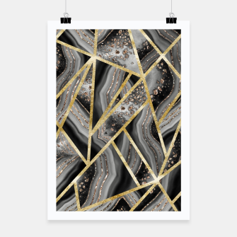 Black Night Agate Gold Geometric Glam #1 #geo #decor #art  Plakat obraz miniatury