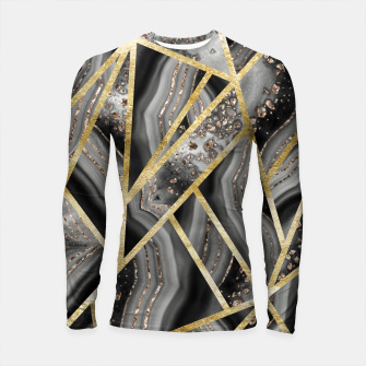 Black Night Agate Gold Geometric Glam #1 #geo #decor #art  Longsleeve rashguard obraz miniatury