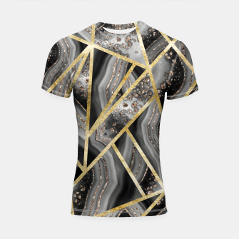 Black Night Agate Gold Geometric Glam #1 #geo #decor #art  Shortsleeve rashguard obraz miniatury