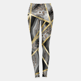 Black Night Agate Gold Geometric Glam #1 #geo #decor #art  Leggings obraz miniatury