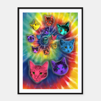 Thumbnail image of TIE DYE CATS Cartel con marco, Live Heroes