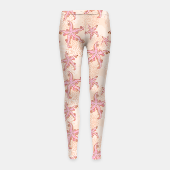 Miniaturka Starfish and Coral Pink Pastel  Girl's leggings, Live Heroes