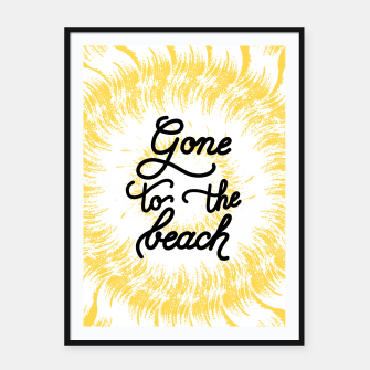 Gone to the beach (Yellow) Framed poster imagen en miniatura
